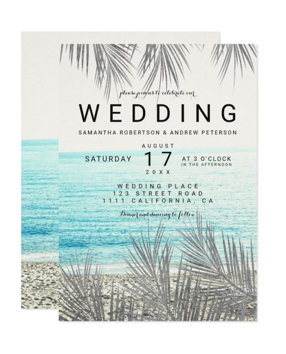 Modern silver palm tree elegant beach photo wedding invitation