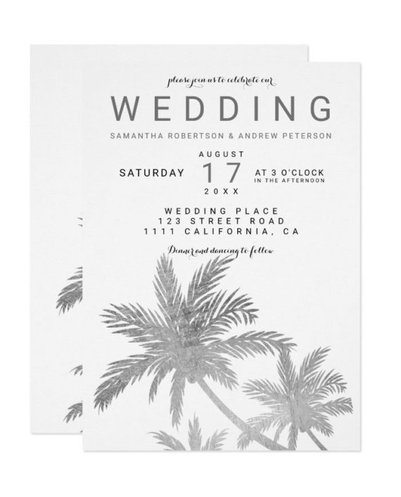 Modern silver palm trees elegant wedding invitation