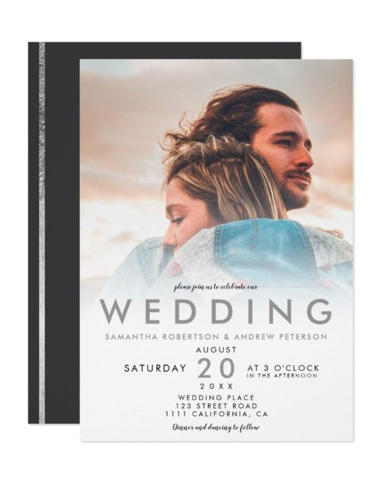 Modern silver white ombre simple photo wedding invitation