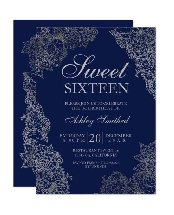 Navy blue silver floral elegant Sweet sixteen Invitation