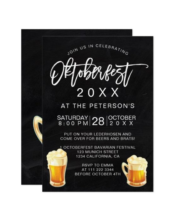 Oktoberfest festival chalkboard party typography Bavarian Invitation preview
