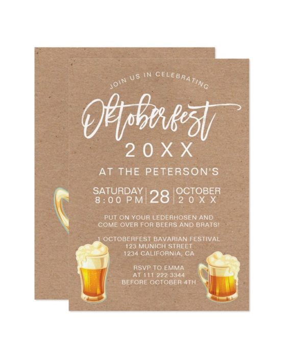 Oktoberfest festival kraft party typography Bavarian Invitation