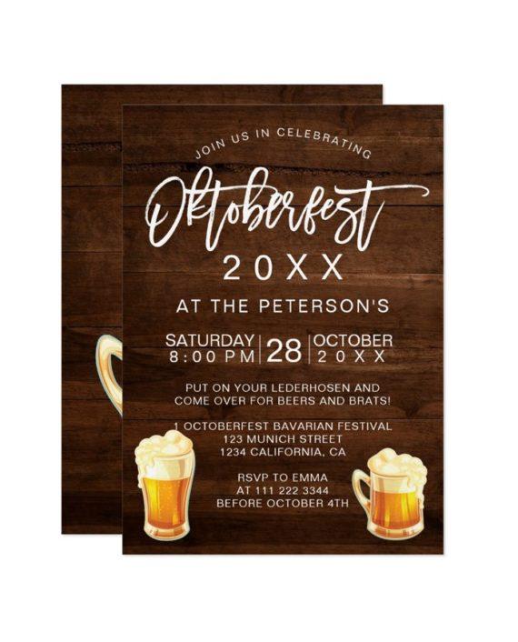 Oktoberfest festival party rustic wood typography Bavarian Invitation