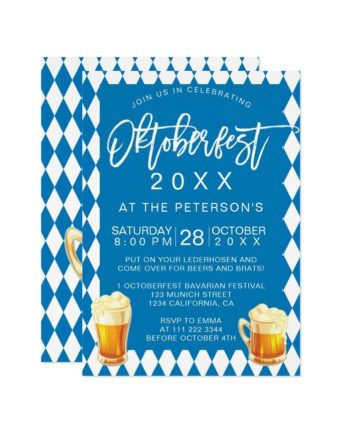 Oktoberfest festival party typography Bavarian printable invitation