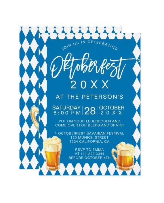 Oktoberfest festival party typography Bavarian printable invitation