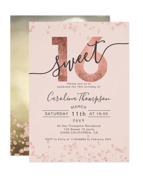 Rose gold foil glitter confetti blush Sweet 16 photo Invitation