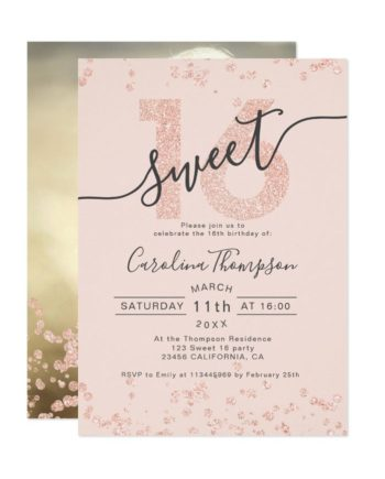 Rose gold glitter confetti blush Sweet 16 photo Invitation