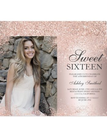 Rose gold glitter metallic foil photo Sweet 16 printable invitation 2