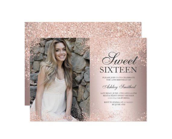 Rose gold glitter metallic foil photo Sweet 16 printable invitation 2