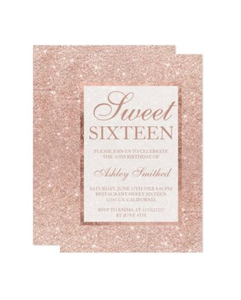 Rose gold glitter modern elegant chic Sweet 16 Invitation preview