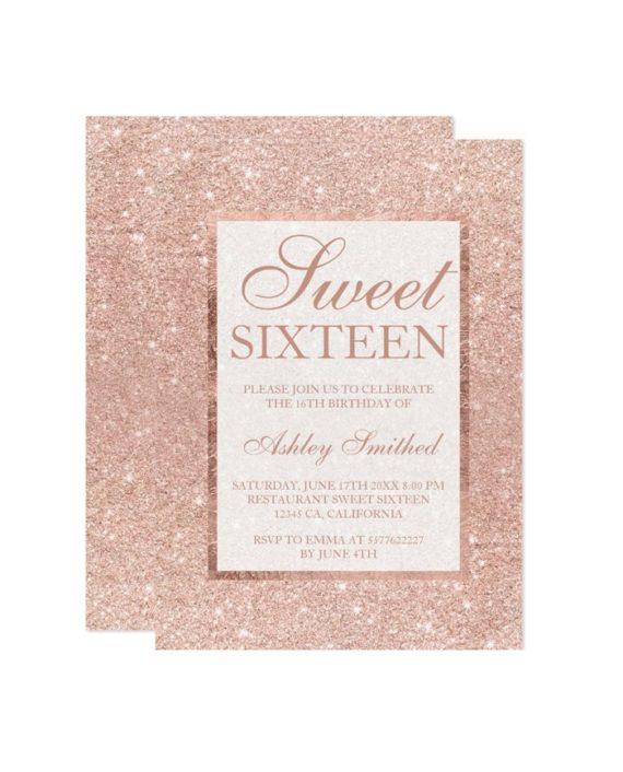 Rose gold glitter modern elegant chic Sweet 16 Invitation preview