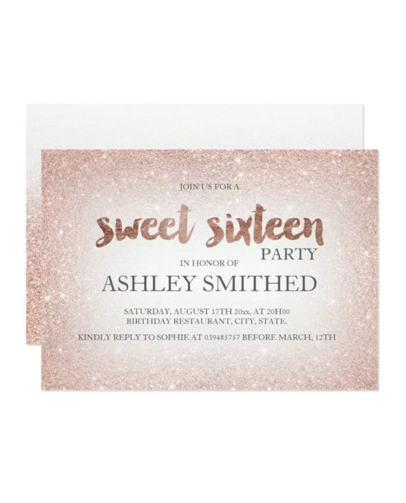 Rose gold glitter ombre chic modern Sweet 16 Invitation