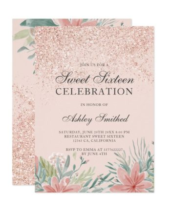 Rose gold glitter sparkles floral blush sweet 16 invitation
