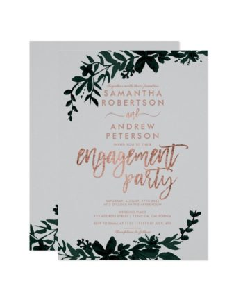 Rose gold typography Floral grey engagement Invitation preview