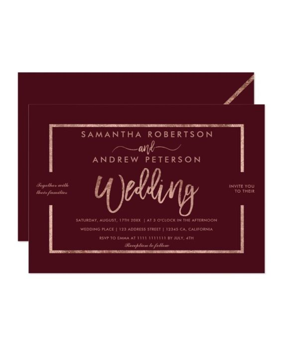 Rose gold typography burgundy red chic wedding invitation preview