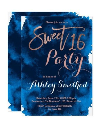 Rose gold typography navy blue watercolor Sweet 16 Invitation preview