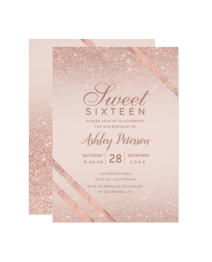 picture relating to Printable Sweet 16 Invitations identified as Rose gold typography stripe glitter blush Lovable 16 printable invitation