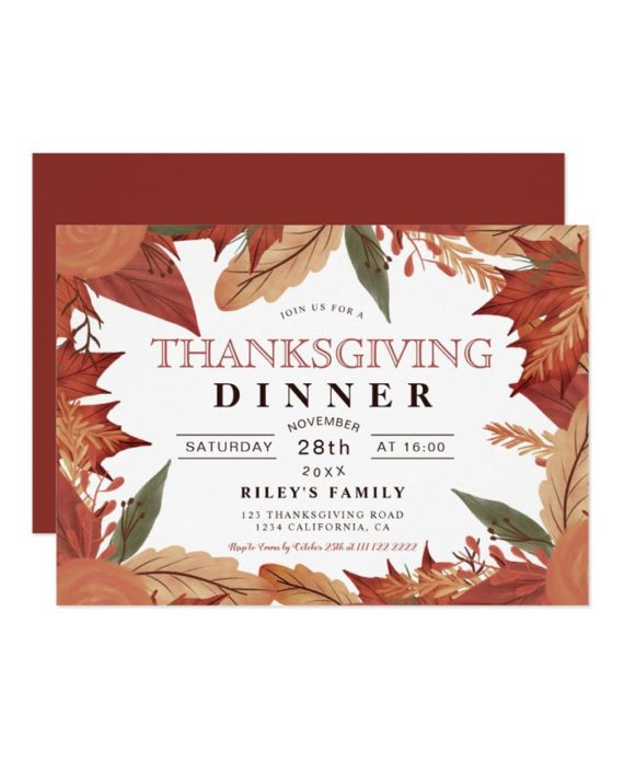 Rustic brown fall leaf floral thanksgiving invitation