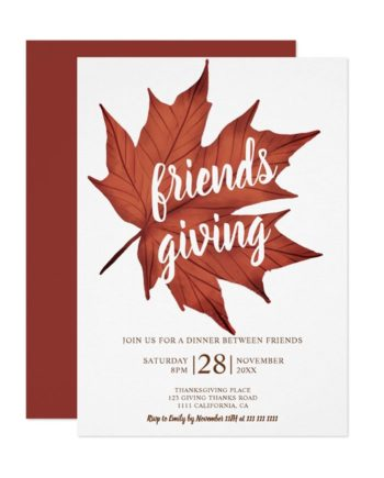 Rustic red brown maple leaf thanksgiving invitation preview