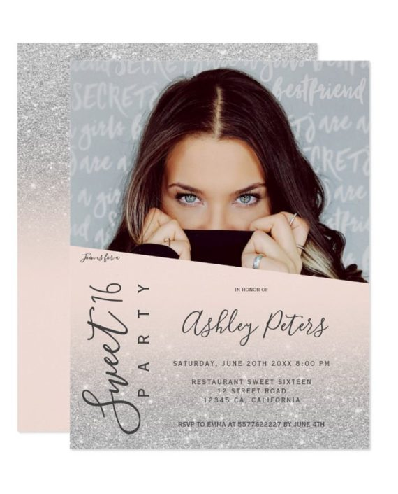 Silver Glitter girly typography blush photo Sweet 16 Invitation