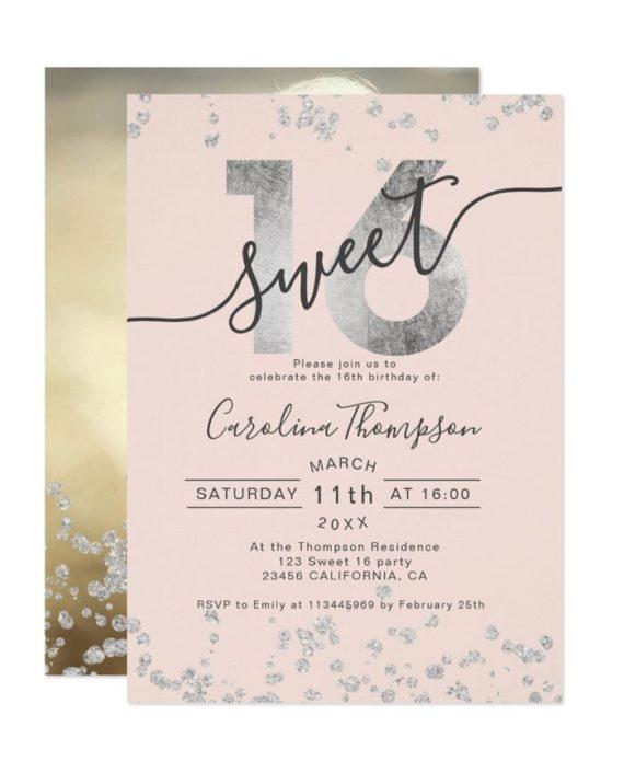 Silver foil glitter confetti blush Sweet 16 photo Invitation
