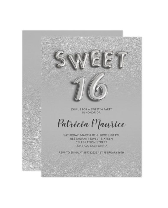 Silver glitter ombre balloons letters pink chic sweet 16 printable invitation