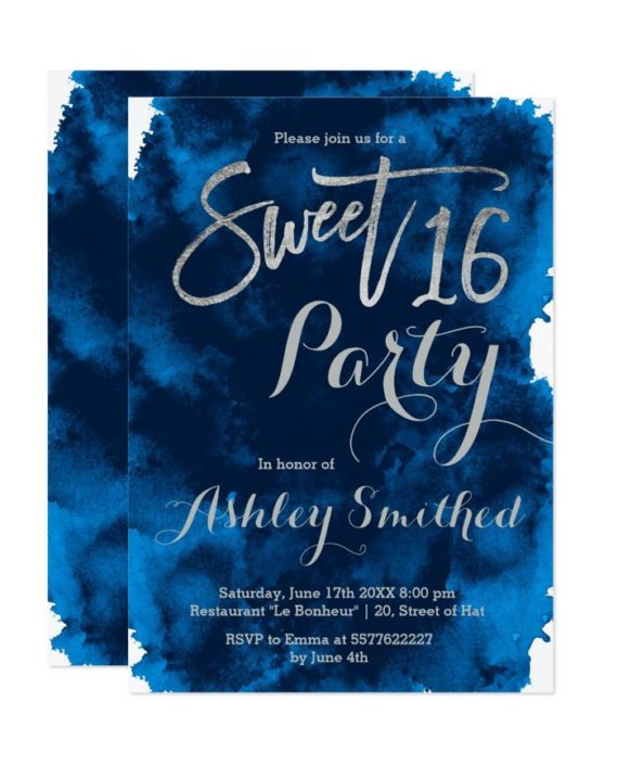 Silver typography navy blue watercolor Sweet 16 Invitation