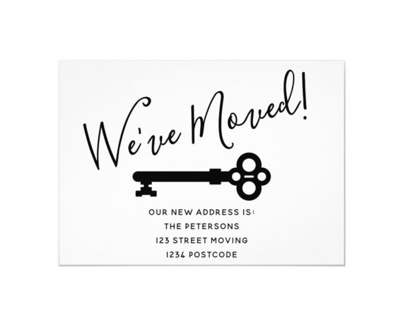 Simple black white minimal key printable moving announcement- New home-We've moved preview