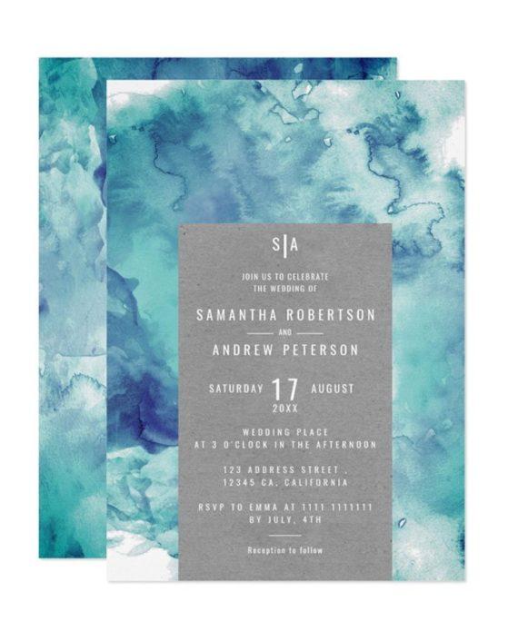 Vintage sea blue watercolor elegant kraft wedding invitation
