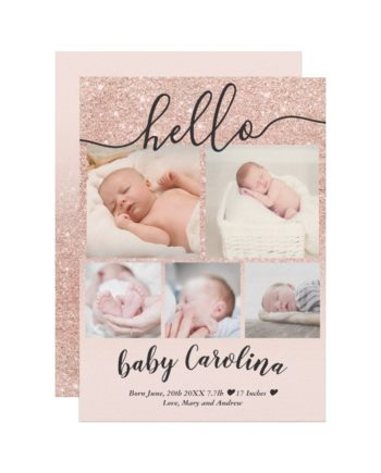blush pink gold 5 grid photo baby girl birth announcement