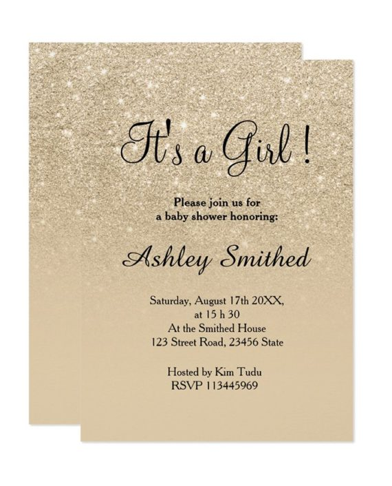 champagne faux glitter ombre baby shower digital download