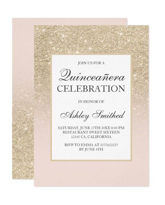 champagne glitter elegant chic Quinceañera Invitation