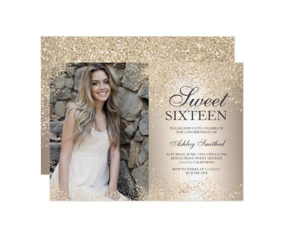 champagne glitter metallic foil photo Sweet 16 printable invitation 2