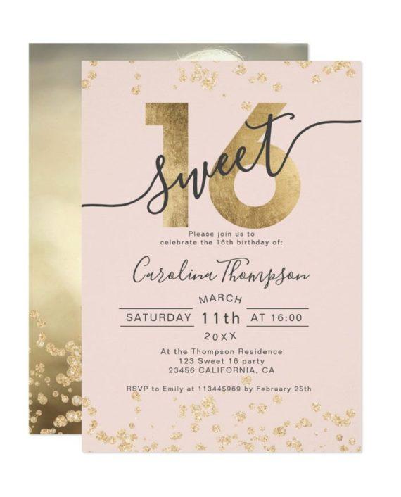 gold foil glitter confetti blush Sweet 16 photo Invitation