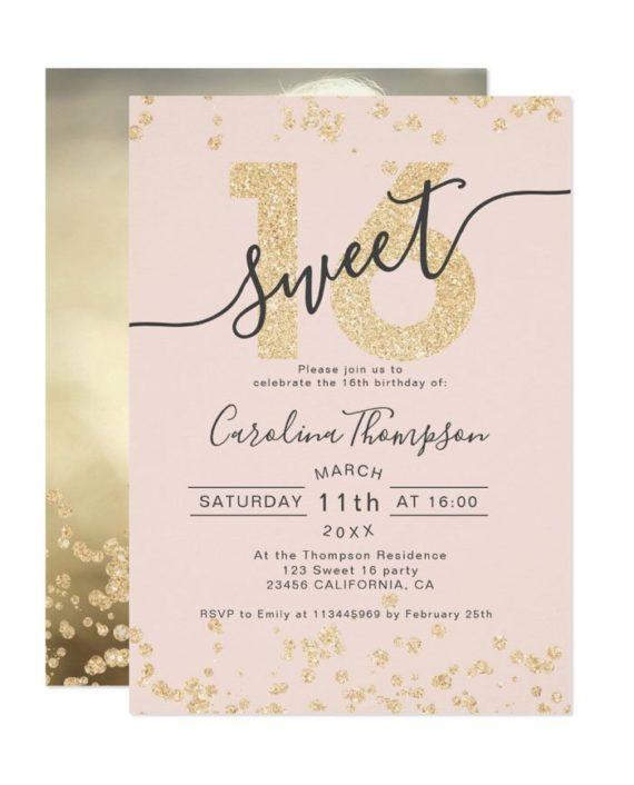Rose gold glitter confetti blush Sweet 16 photo Invitation