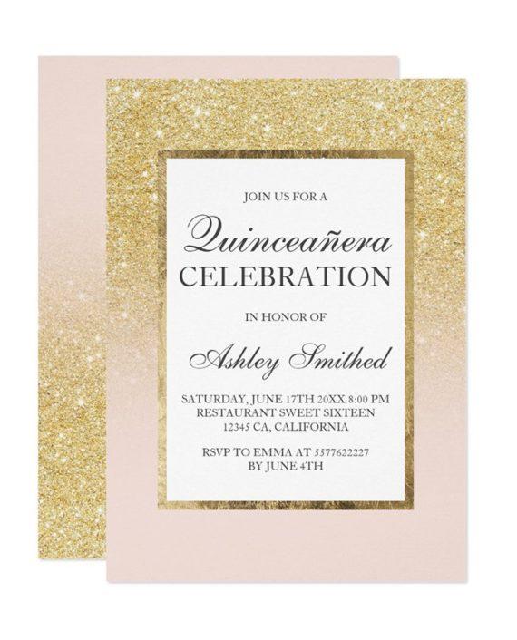 gold glitter elegant chic Quinceañera Invitation