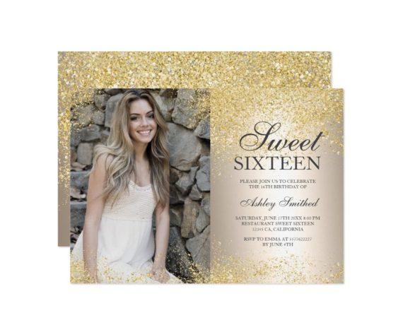 gold glitter metallic foil photo Sweet 16 printable invitation 2