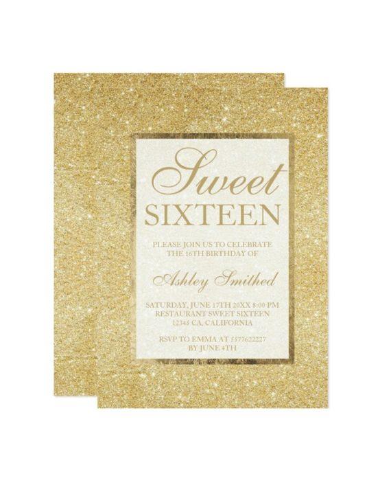 gold glitter modern elegant chic Sweet 16 Invitation