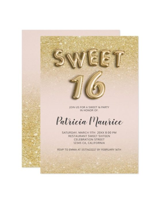 gold glitter ombre balloons letters pink chic sweet 16 printable invitation