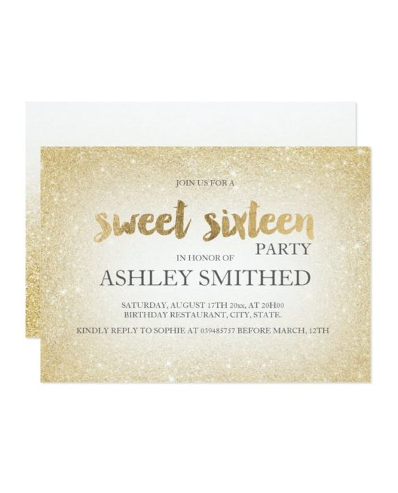 gold glitter ombre chic modern Sweet 16 Invitation