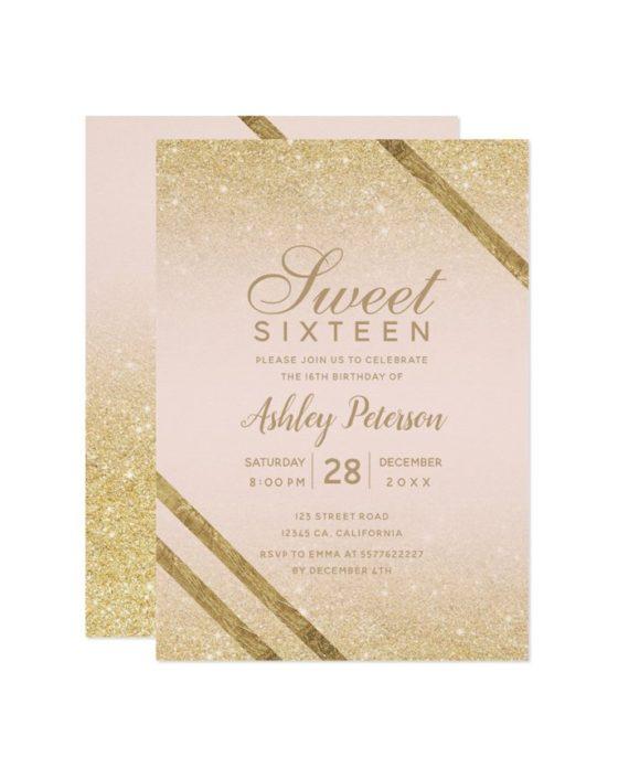 gold typography stripe glitter blush Sweet 16 Invitation