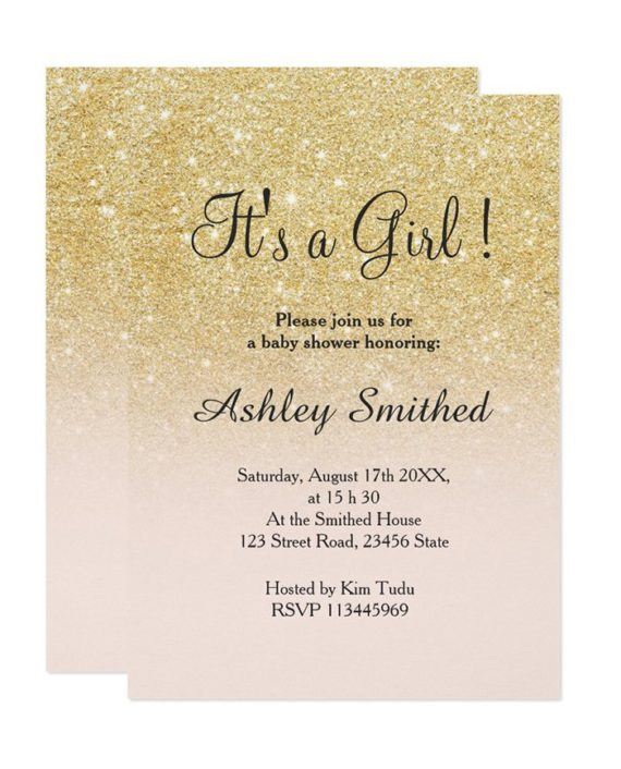 gold faux glitter ombre baby shower digital download
