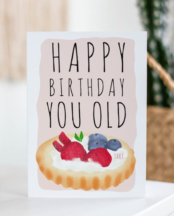 Funny old tart birthday illustration printable greeting card digital download