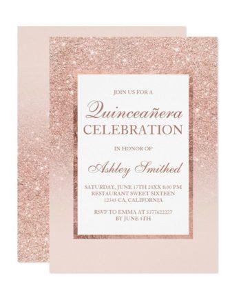 rose gold glitter elegant chic Quinceañera Invitation