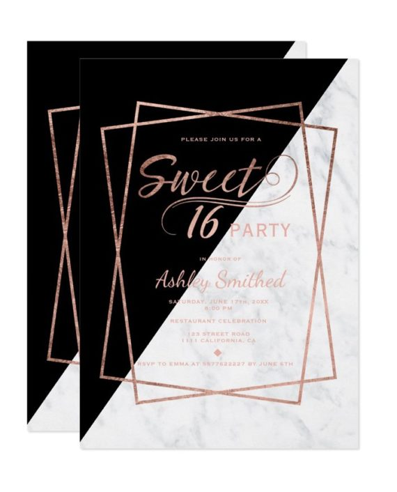 rose gold marble script geometric Sweet 16 Invitation preview