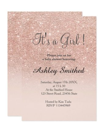Rose gold faux glitter pink ombre girl baby shower invitation digital download