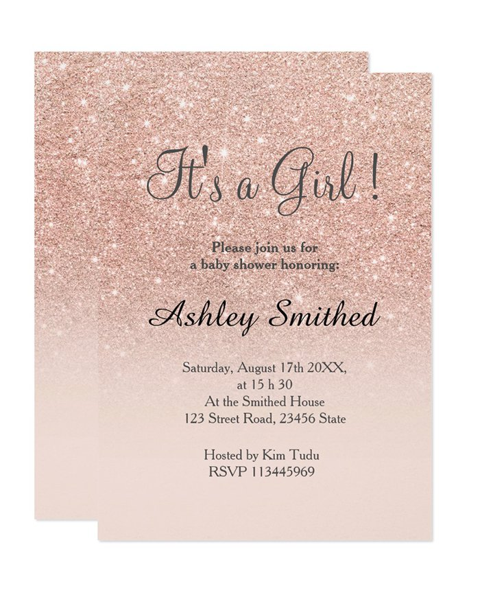 Printable Rose Gold Glitter Pink Ombre