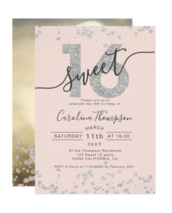 silver glitter confetti blush Sweet 16 photo Invitation