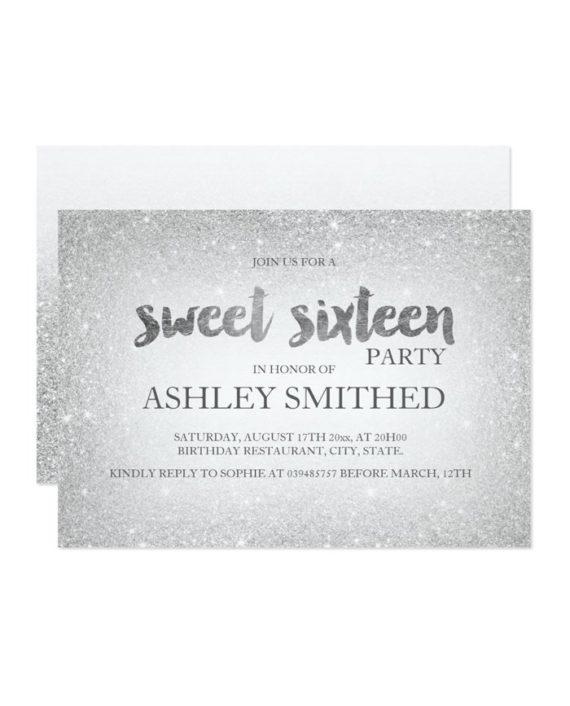 silver glitter ombre chic modern Sweet 16 Invitation