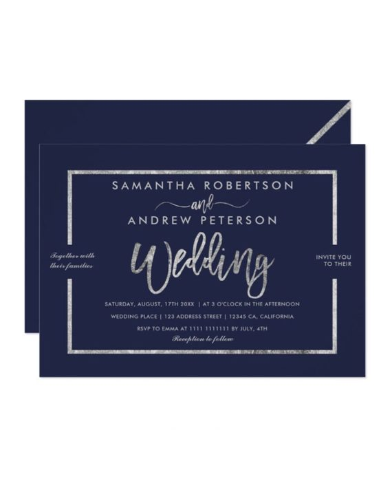 gold typography navy blue chic wedding invitation